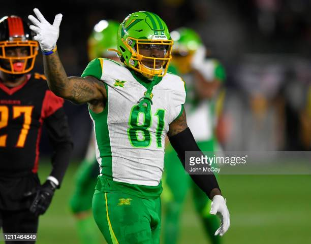 Daniel Williams of the Tampa Bay Vipers while playing the // at Dignity Health Sports Park during an XFL game on March 8 2020 in Carson California LA...