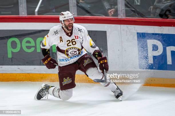 Daniel Winnik of GeneveServette HC celebrates his goal during the Swiss National League game between Lausanne HC and GeneveServette HC at Vaudoise...