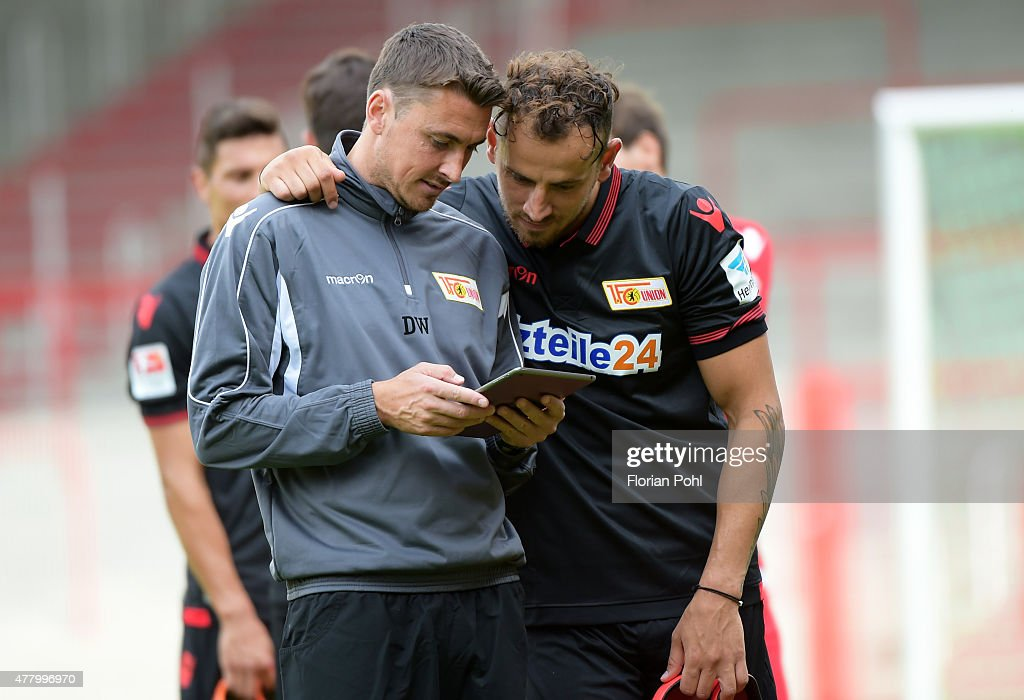 Daniel Wolf and Bajram Nebihi of 1 FC. Union Berlin during the training of Union Berlin on June 21, 2015 in Berlin, Germany.