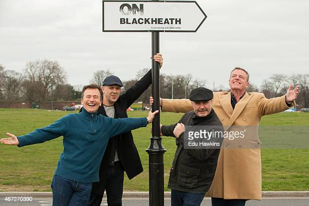 Daniel Woodgate Mark Bedford Chris Foreman and Graham McPherson of Madness visit Blackheath ahead of their headline gig at OnBlackheath festival on...