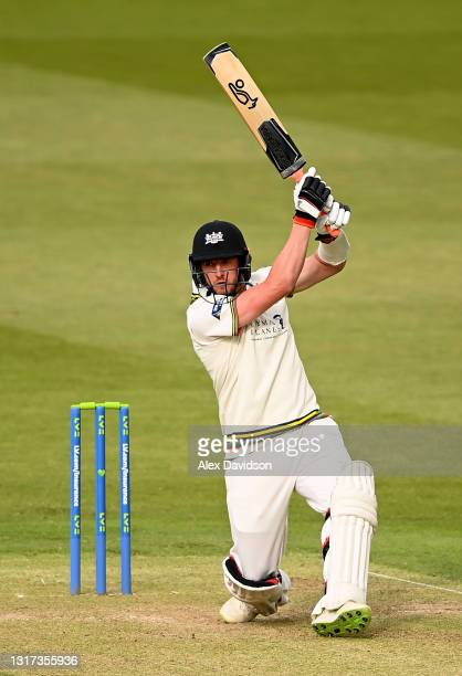 Daniel Worral of Gloucestershire hits down the ground during Day Two of the LV= Insurance County Championship match between Middlesex and...