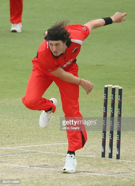 Daniel Worrall of SA bowls during the JLT One Day Cup match between South Australia and the Cricket Australia XI at Allan Border Field on September...