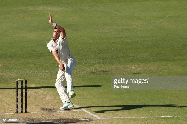 Daniel Worrall of South Australia bowls during day three of the Sheffield Shield match between Western Australia and South Australia at WACA on...