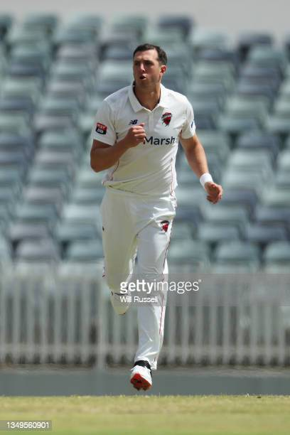 Daniel Worrall of South Australia bowls during day two of the Sheffield Shield match between Western Australia and South Australia at WACA, on...