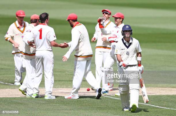 Daniel Worrall of South Australia is congratulated by his teammates after dismissing Glenn Maxwell of Victoria during day two of the Sheffield Shield...