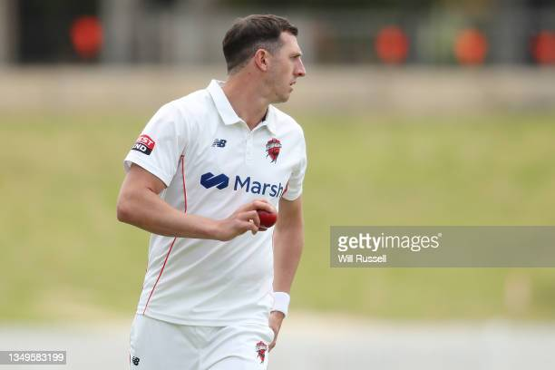 Daniel Worrall of South Australia prepares to bowl during day two of the Sheffield Shield match between Western Australia and South Australia at...