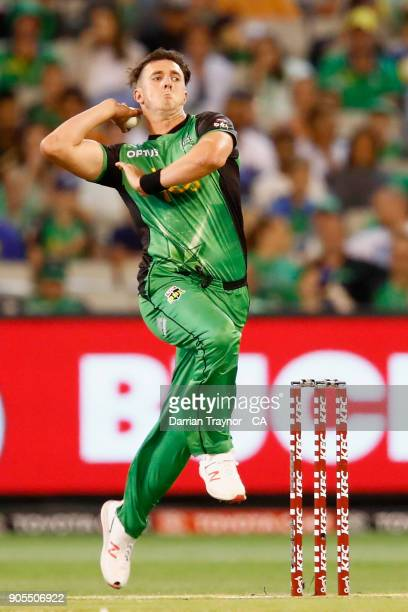 Daniel Worrall of the Melbourne Stars bowls during the Big Bash League match between the Melbourne Stars and the Sydney Sixers at Melbourne Cricket...