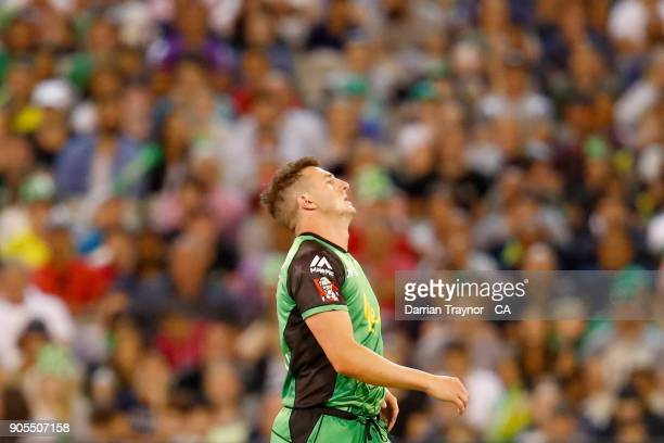 Daniel Worrall of the Melbourne Stars reacts during the Big Bash League match between the Melbourne Stars and the Sydney Sixers at Melbourne Cricket...