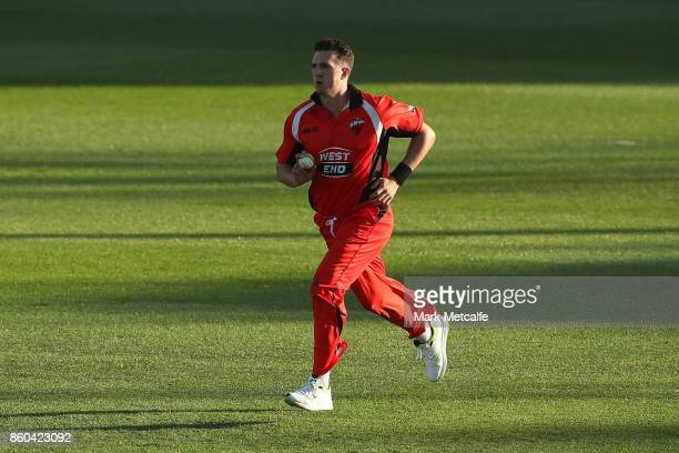 Daniel Worrall of the Redbacks bowls during the JLT One Day Cup match between Victoria and South Australia at North Sydney Oval on October 12 2017 in...
