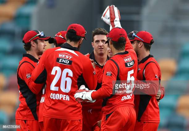 Daniel Worrall of the Redbacks celebrates after taking the wicket of Michael Klinger of the Warriors during the JLT One Day Cup Final match between...