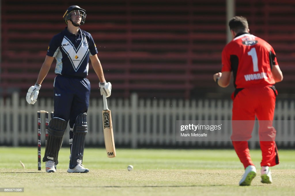 Daniel Worrall of the Redbacks celebrates taking the wicket of Matt Short of the Bushrangers during the JLT One Day Cup match between Victoria and South Australia at North Sydney Oval on October 12, 2017 in Sydney, Australia.
