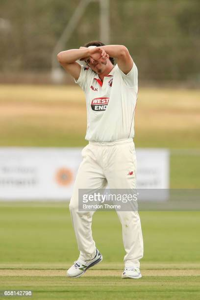 Daniel Worrall of the Redbacks reacts during the Sheffield Shield final between Victoria and South Australia on March 27 2017 in Alice Springs...