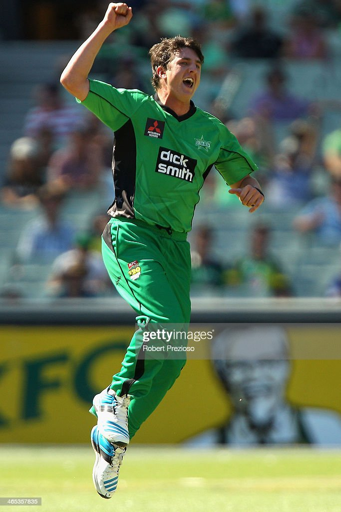 Daniel Worrall of the Stars celebrates taking the wicket of Pat Cummins of the Scorchers during the Big Bash League match between the Melbourne Stars and the Perth Scorchers at Melbourne Cricket Ground on January 27, 2014 in Melbourne, Australia.
