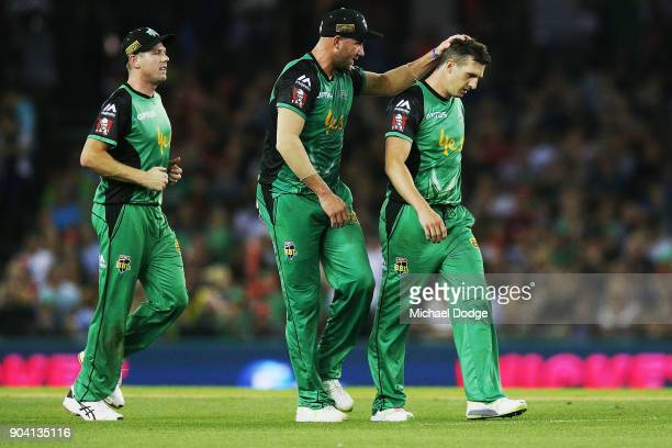 Daniel Worrall of the Stars celebrates the wicket of Jack Wildermuth of the Renegades during the Big Bash League match between the Melbourne...