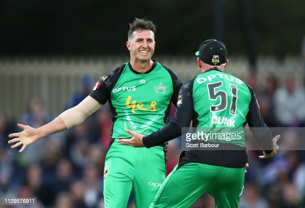 Daniel Worrall of the Stars is congratulated by Ben Dunk and his teammates after dismissing Caleb Jewell of the Hurricanes during the Big Bash League...