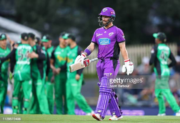 Daniel Worrall of the Stars is congratulated by his teammates after dismissing Matthew Wade of the Hurricanes during the Big Bash League semi final...