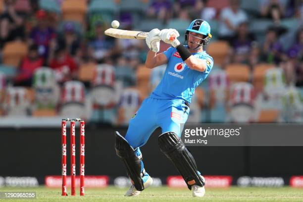 Daniel Worrall of the Strikers bats during the Big Bash League match between the Adelaide Strikers and the Hobart Hurricanes at Blundstone Arena, on...