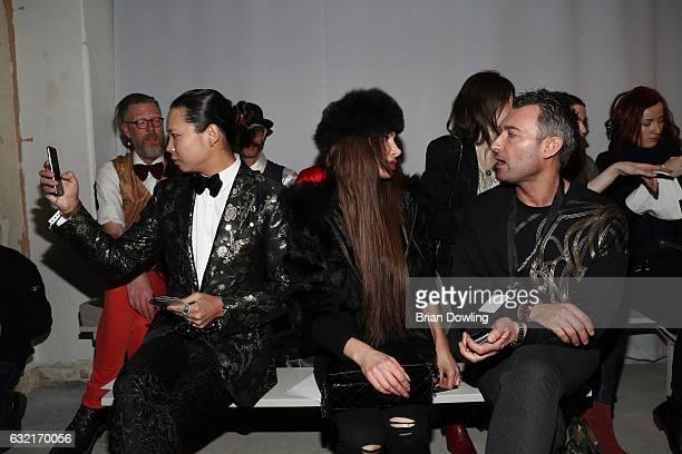 Daniel Wu Joanna Tuczynska and a guest attend the I'Vr Isabel Vollrath show during the MercedesBenz Fashion Week Berlin A/W 2017 at Kaufhaus Jandorf...