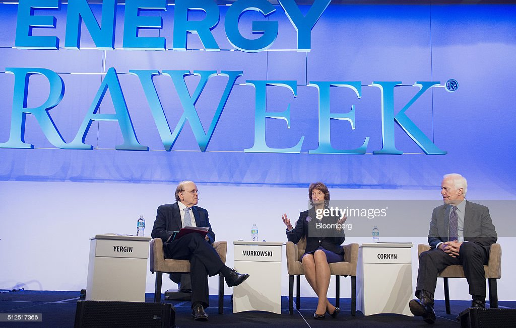 Daniel Yergin, vice chairman of IHS Cambridge Energy Research Associates Inc., from left, Senator Lisa Murkowski, a Republican from Alaska, and Senator John Cornyn, a Republican from Texas, participate in a panel discussion during the 2016 IHS CERAWeek conference in Houston, Texas, U.S., on Friday, Feb. 26, 2016. CERAWeek, in its 35th year, will provide new insights and critically-important dialogue with energy industry leaders, experts, government officials and policymakers, and leaders from the technology, financial and industrial communities. Photographer: Matthew Busch/Bloomberg via Getty Images