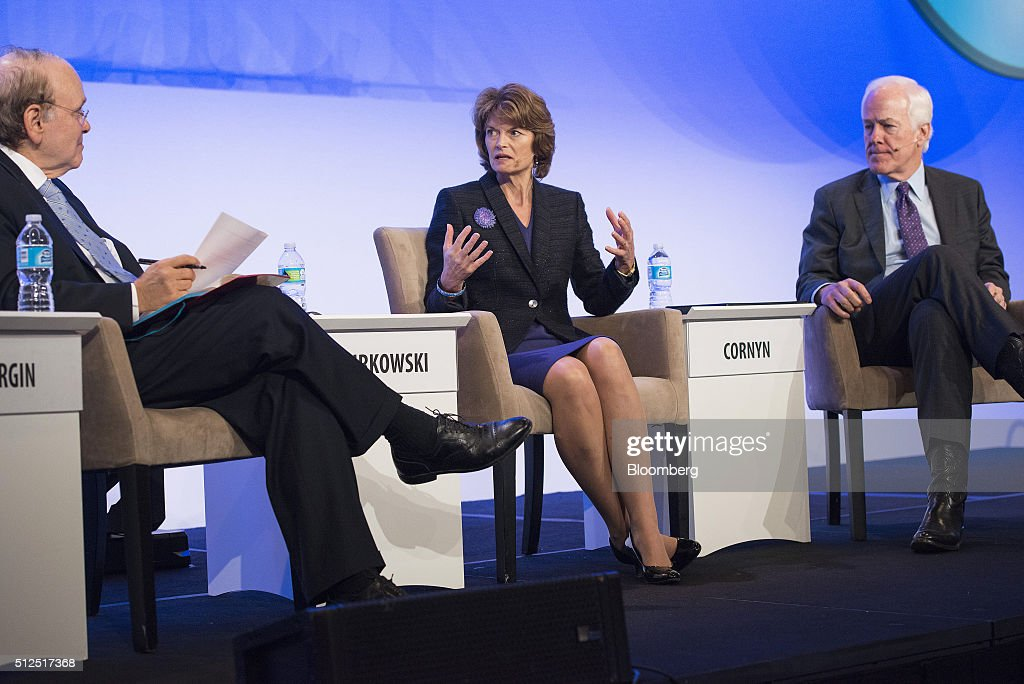 Daniel Yergin, vice chairman of IHS Cambridge Energy Research Associates Inc., Senator Lisa Murkowski, a Republican from Alaska, and JSenator John Cornyn, a Republican from Texas, participate in a panel discussion during the 2016 IHS CERAWeek conference in Houston, Texas, U.S., on Friday, Feb. 26, 2016. CERAWeek, in its 35th year, will provide new insights and critically-important dialogue with energy industry leaders, experts, government officials and policymakers, and leaders from the technology, financial and industrial communities. Photographer: Matthew Busch/Bloomberg via Getty Images
