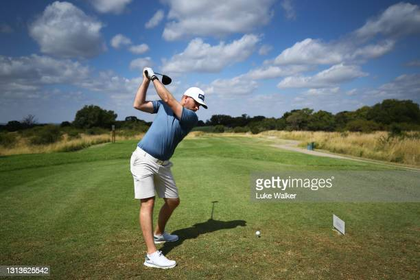 Daniel Young of Scotland plays a shot during a practice day prior to the Limpopo Championship at Euphoria Golf Club, Modimolle on April 21, 2021 in...