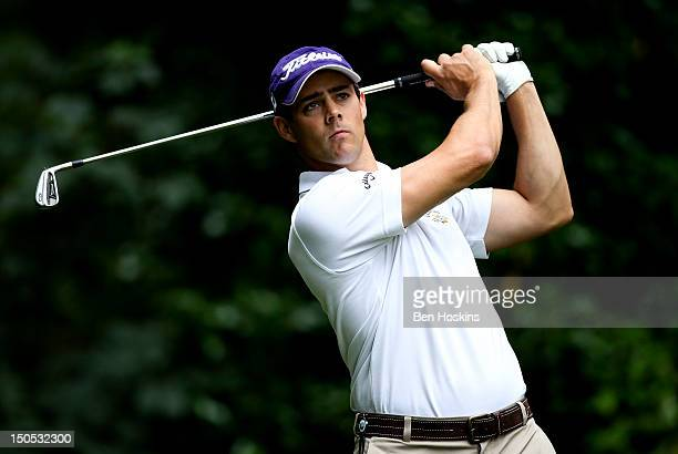 Daniel Young of Worldham Park Golf Club tee's off on the 4th hole during the Regional Final of the Virgin Atlantic PGA National ProAm Championship at...