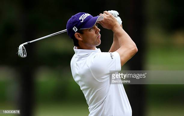 Daniel Young of Worldingham Golf Club hits his approach into the 8th hole during the Regional Final of the Virgin Atlantic PGA National ProAm...