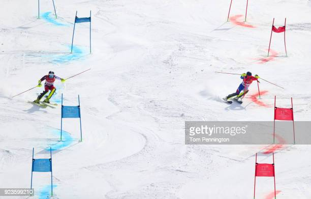 Daniel Yule of Switzerland and Alexis Pinturault of France compete during the Alpine Team Event Semifinals on day 15 of the PyeongChang 2018 Winter...