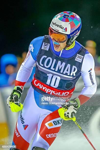 Daniel Yule of Switzerland celebrates during the Audi FIS Alpine Ski World Cup Men's Slalom on December 22 2016 in Madonna di Campiglio Italy