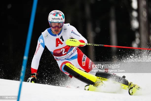 Daniel Yule of Switzerland competes during the Audi FIS Alpine Ski World Cup Men's Slalom on January 26 2020 in Kitzbuehel Austria