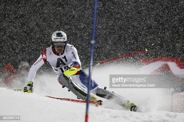 Daniel Yule of Switzerland competes during the Audi FIS Alpine Ski World Cup Men's Slalom on January 27 2015 in Schladming Austria