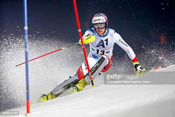 Daniel Yule of Switzerland competes during the Audi FIS Alpine Ski World Cup Men's Slalom on January 26 2016 in Schladming Austria