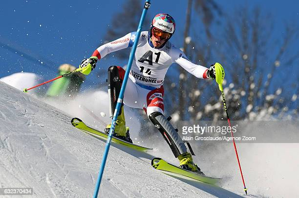 Daniel Yule of Switzerland competes during the Audi FIS Alpine Ski World Cup Men's Slalom on January 22 2017 in Kitzbuehel Austria
