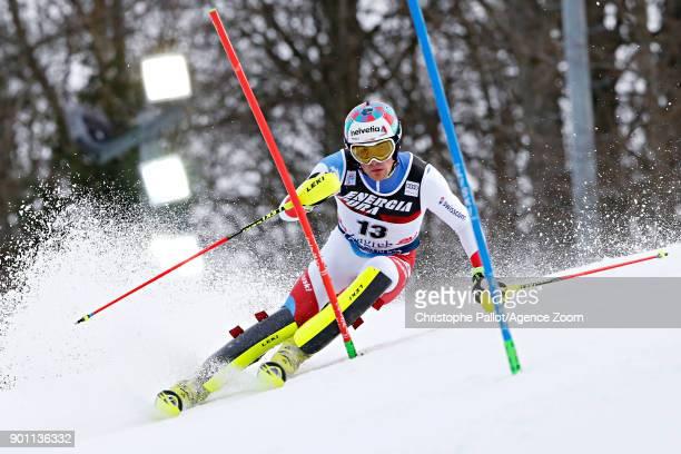 Daniel Yule of Switzerland competes during the Audi FIS Alpine Ski World Cup Men's Slalom on January 4 2018 in Zagreb Croatia