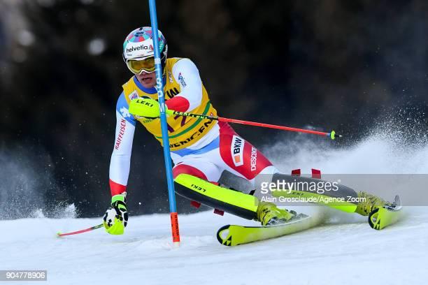 Daniel Yule of Switzerland competes during the Audi FIS Alpine Ski World Cup Men's Slalom on January 14 2018 in Wengen Switzerland