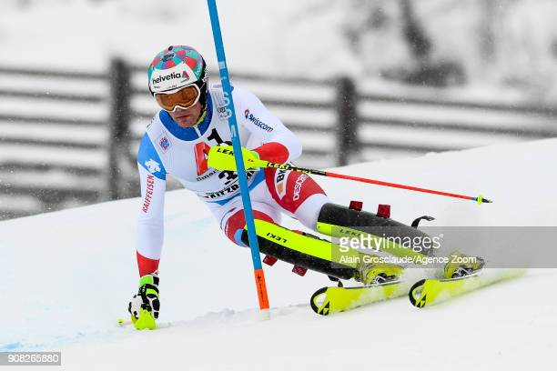 Daniel Yule of Switzerland competes during the Audi FIS Alpine Ski World Cup Men's Slalom on January 21 2018 in Kitzbuehel Austria