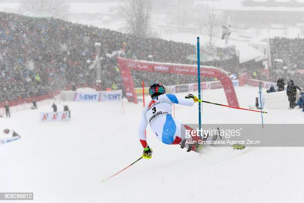Daniel Yule of Switzerland competes during the Audi FIS Alpine Ski World Cup Men's Slalom on January 21 2018 in Kitzbuehel Austria