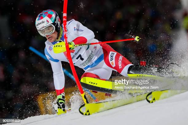 Daniel Yule of Switzerland competes during the Audi FIS Alpine Ski World Cup Men's Slalom on January 23 2018 in Schladming Austria