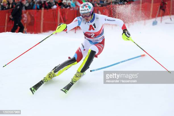 Daniel Yule of Switzerland competes in the 1st run during the Hahnenkamm Rennen Audi FIS Alpine Ski World Cup Men's Slalom at Ganslernalm on January...