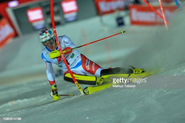 Daniel Yule of Switzerland during the Audi FIS Alpine Ski World Cup Men´s Slalom at Planai Race Hill on January 29 2019 in Schladming Austria