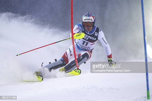 Daniel Yule of Switzerland in action during the Audi FIS Alpine Ski World Cup Men's Slalom on January 05 2017 in Zagreb Croatia
