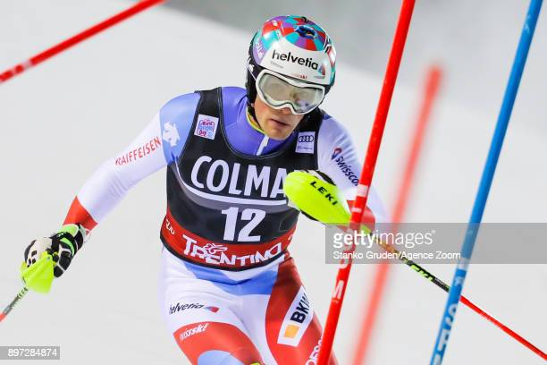 Daniel Yule of Switzerland in action during the Audi FIS Alpine Ski World Cup Men's Slalom on December 22 2017 in Madonna di Campiglio Italy