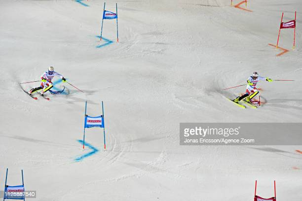 Daniel Yule of Switzerland in action, Loic Meillard of Switzerland in action during the Audi FIS Alpine Ski World Cup Men's and Women's City Event on...