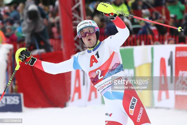 Daniel Yule of Switzerland reacts after competing in the 2nd run during the Hahnenkamm Rennen Audi FIS Alpine Ski World Cup Men's Slalom at...