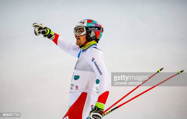 TOPSHOT Daniel Yule of Switzerland reacts after the second run of the men's slalom for the FIS Alpine Ski World Cup in Schladming Austria 23 January...