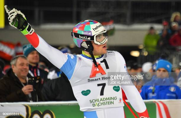 Daniel Yule of Switzerland reacts in the finnish area after competing in the second run of the men's slalom event at the FIS Alpine World Cup in...