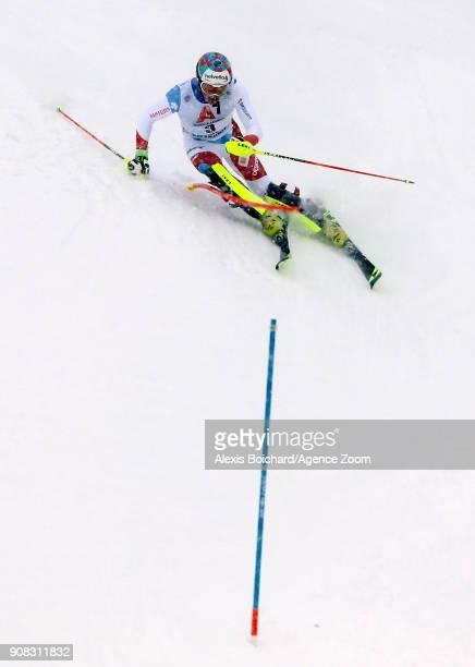 Daniel Yule of Switzerland takes 3rd place during the Audi FIS Alpine Ski World Cup Men's Slalom on January 21 2018 in Kitzbuehel Austria