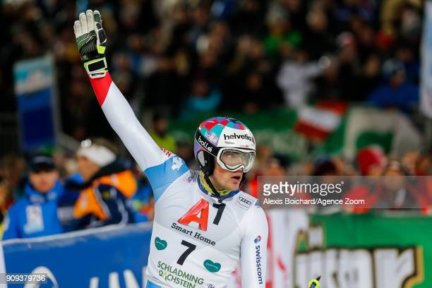 Daniel Yule of Switzerland takes 3rd place during the Audi FIS Alpine Ski World Cup Men's Slalom on January 23 2018 in Schladming Austria