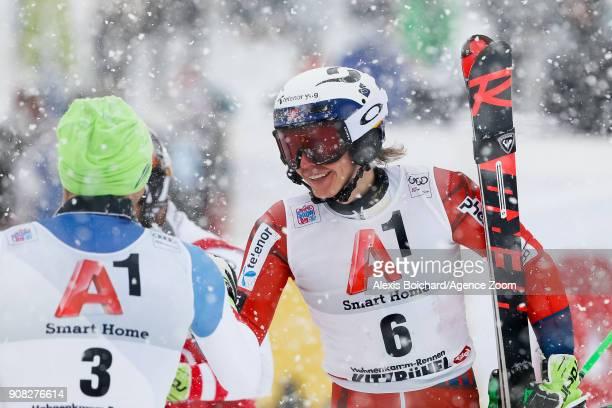 Daniel Yule of Switzerland takes 3rd place Henrik Kristoffersen of Norway takes 1st place during the Audi FIS Alpine Ski World Cup Men's Slalom on...
