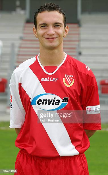 Daniel Ziebig poses during the Bundesliga 2nd Team Presentation of FC Energie Cottbus on July 13 2007 in Jena Germany